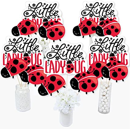 Baby Shower Mum To Be Love Bug Party Table Centrepiece card with dangling items