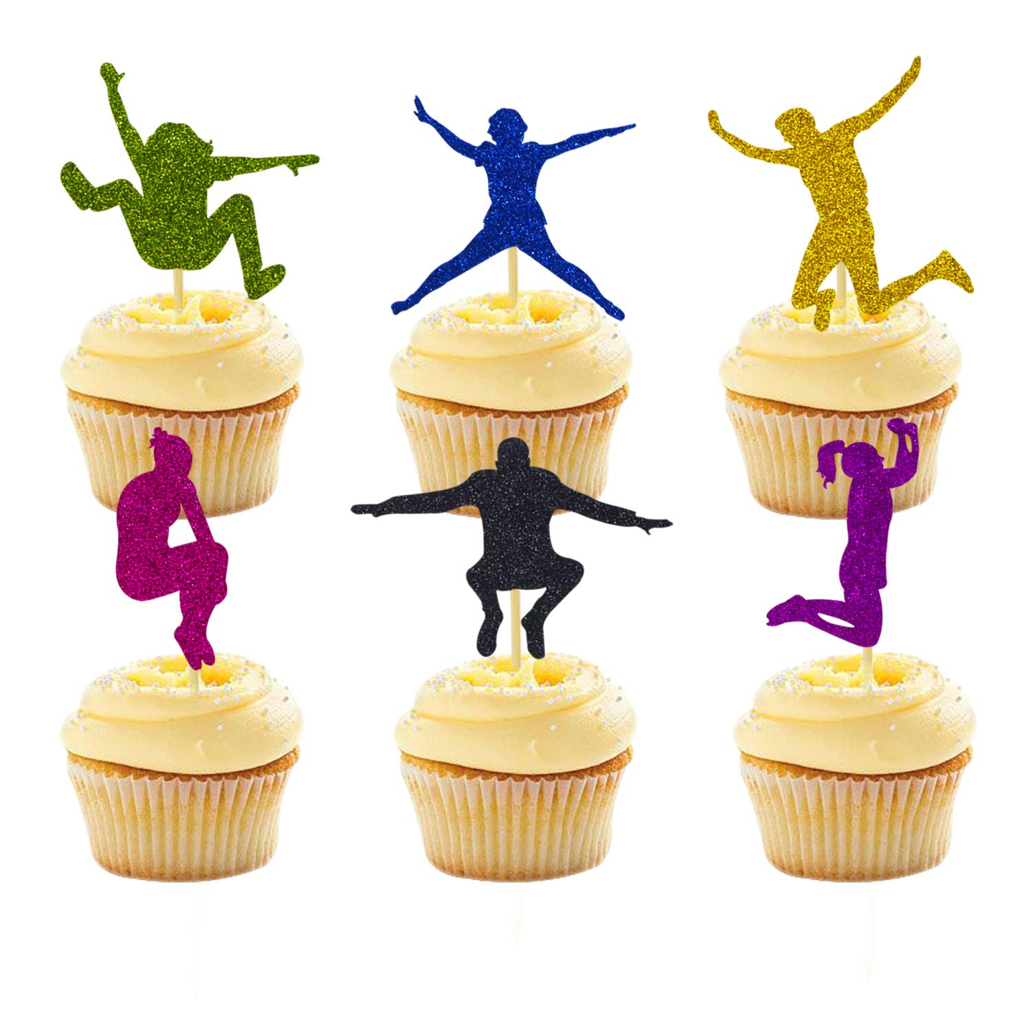 24 Packs Trampoline Cupcake Topper Bounce House or Jumping Party Gymnastics Kids Birthday Decorations by Joymee