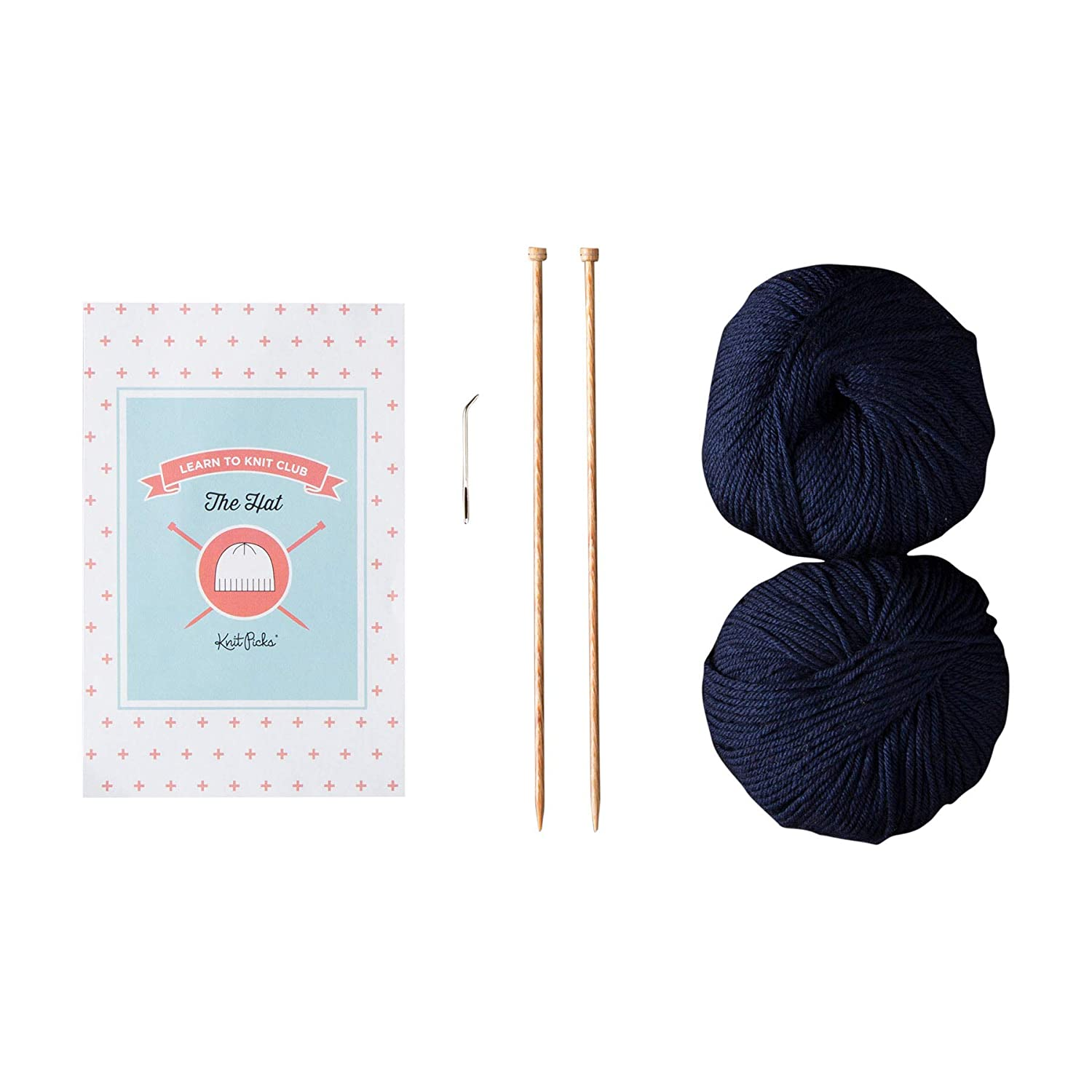 Beginner Knitting Kit Knit Picks Learn to Knit Club The Hat Blue