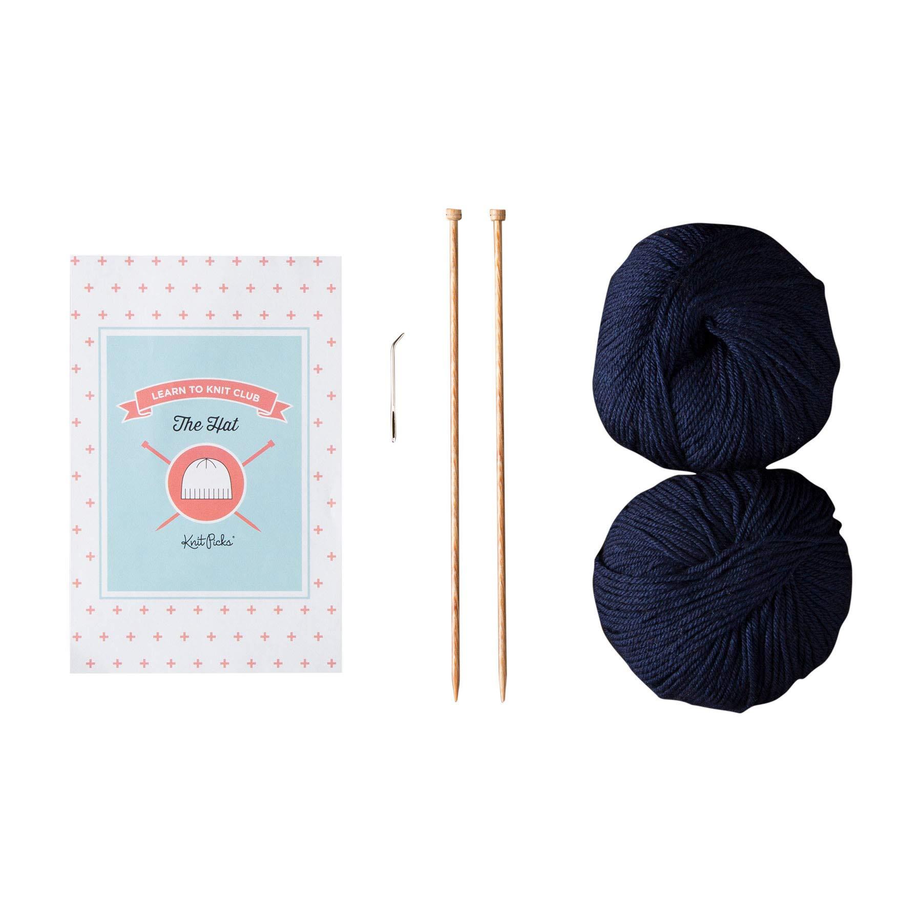 Knit Picks Learn to Knit Club: The Hat - Beginner Knitting Kit (Blue)