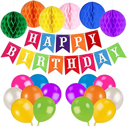 Colorful Happy Birthday Decorations Banner