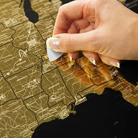 Amazon Com Detailed Scratch Off Usa Map 16x24in United States