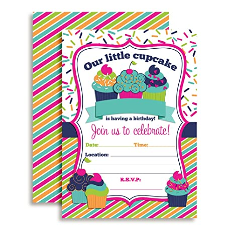 Amazon Cupcake Birthday Party Invitations For Girls 20