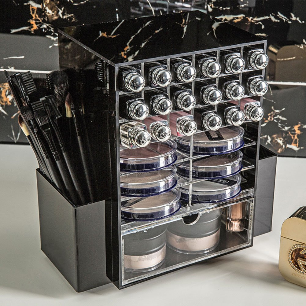 360-degree rotating makeup organizer transparent acrylic lipstick cosmetics storage rack-C
