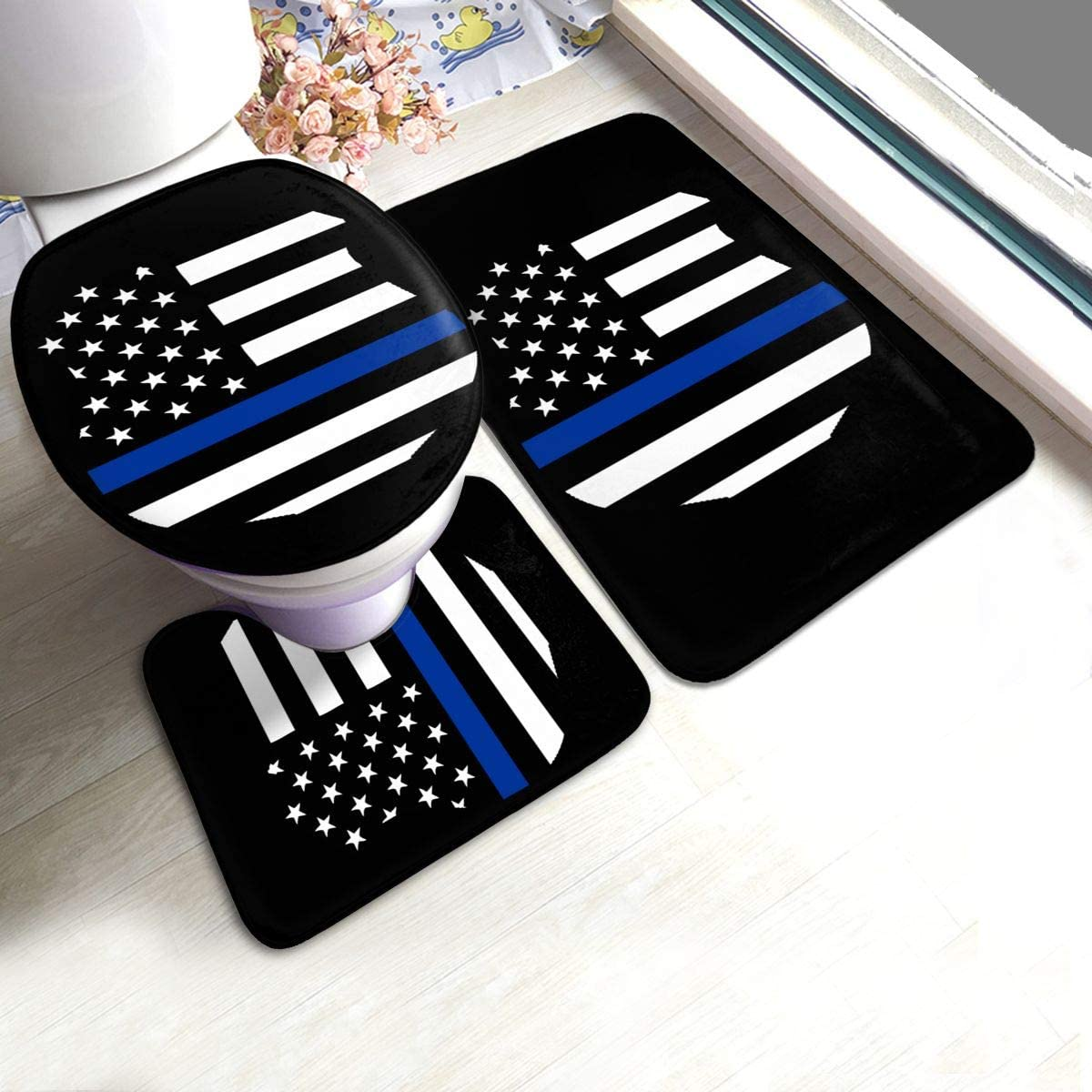 DING Police K9 Thin Blue Line Soft Comfort Flannel Bathroom Mats Non-Slip Absorbent Toilet Seat Cover Bath Mat Lid Cover,3pcs Set Rugs