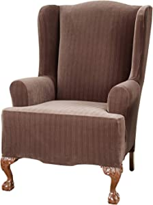 Sure Fit Home Décor Stretch Pinstripe T-Cushion Wing Chair One Piece Slipcover, Form Fit, Polyester/Spandex, Machine Washable, Chocolate Color