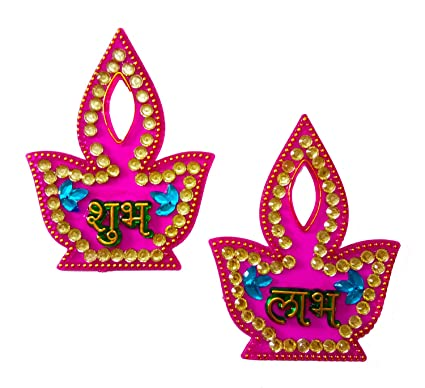 Buy Dms Retail Handcrafted Shubh Labh In Stickers In Diya