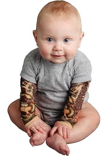 Amazon.com  TotTude Baby Boys  Tattoo Sleeve Bodysuit Newborn Black ... 24e264994