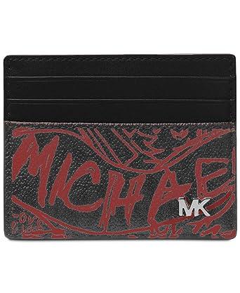 5cfd2327e68195 Michael Kors Men`s Harrison Leather Card Case (Black(0228)/Crimson ...