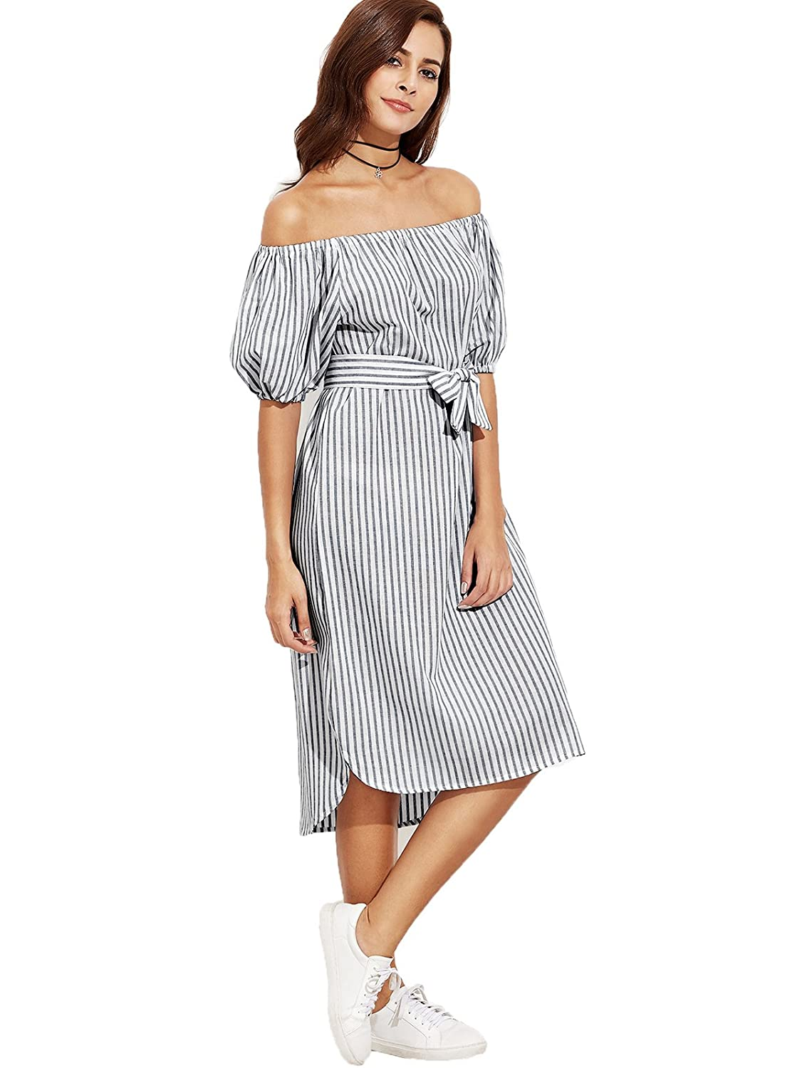 5a05357c56eb Milumia Women s Off The Shoulder Self Tie Dress (One Size