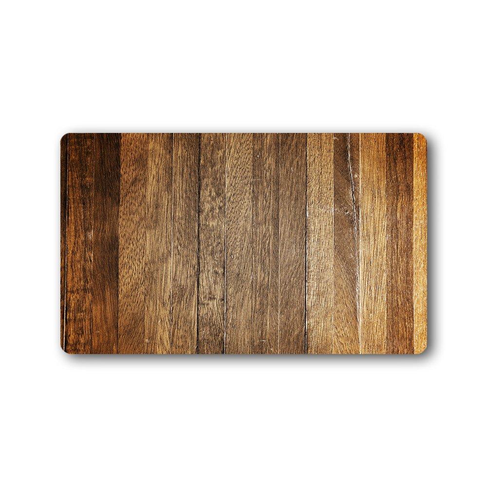 Kichtime Personalized Outdoor Doormat Entrance Rugs Wood Grain Non Slip Front Door Welcome Mats 30X18