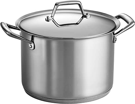 16 or 22 Quart Covered Stock Pot Tramontina Stainless Steel 12