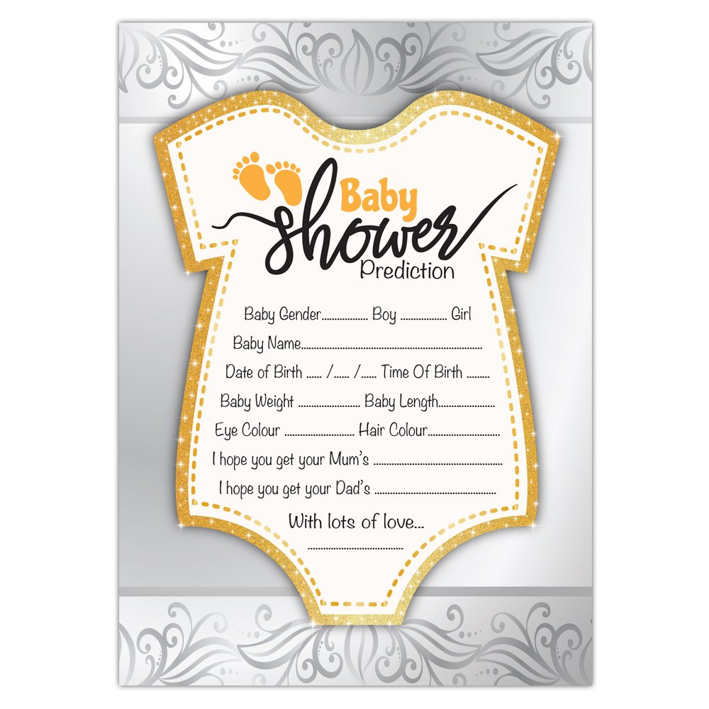 Baby Shower Prediction Game Cards | Gold & Silver Theme | Set of 10 Cards |  Boy, Girl, Unisex | Fast & Free DELIVERY