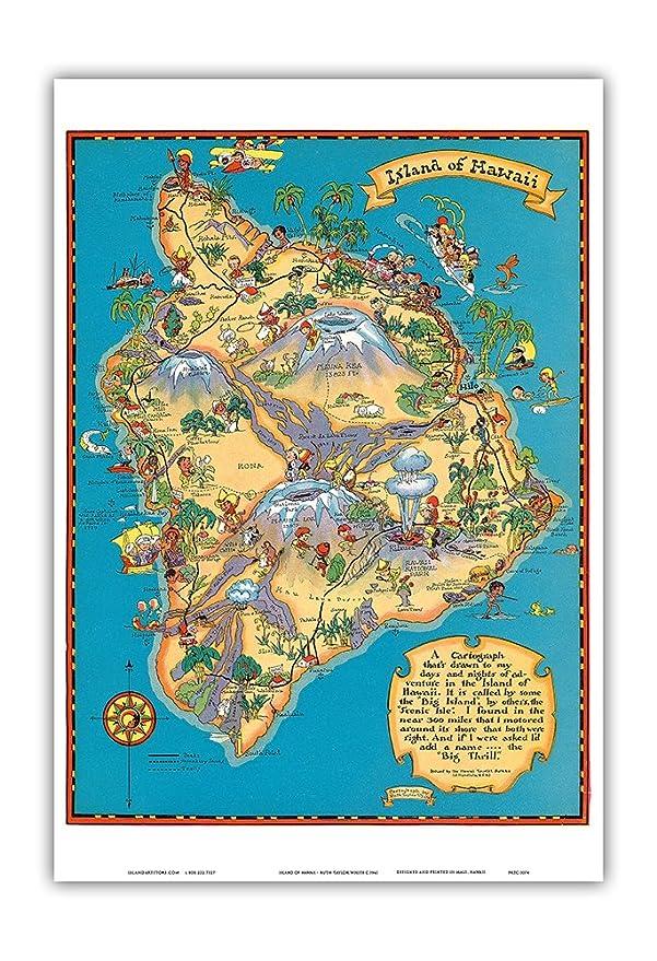 Amazon Hawaiian Island of Hawaii Big Island Map Hawaii