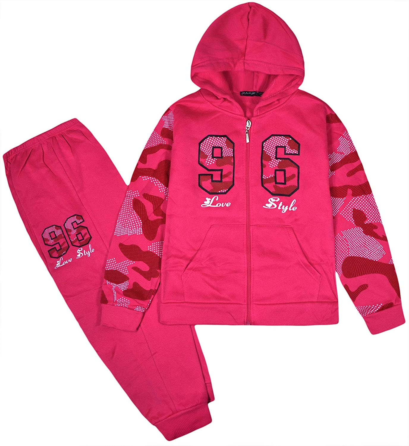 JollyRascals Girls Tracksuit Set Kids Hoodie Camo Sleeves and Jogging Bottom 2psc Suit New Ages 2 3 4 5 6 7 8 9 10 Years