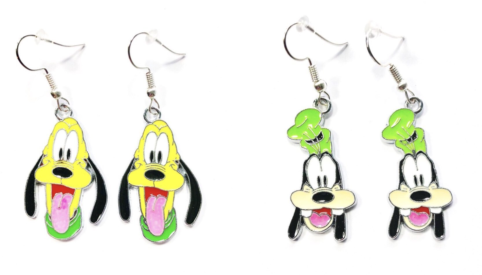 2 Pairs Disney inspired Goofy & Pluto Dog Cartoon Character Dangle Hook Earrings With Gift Box