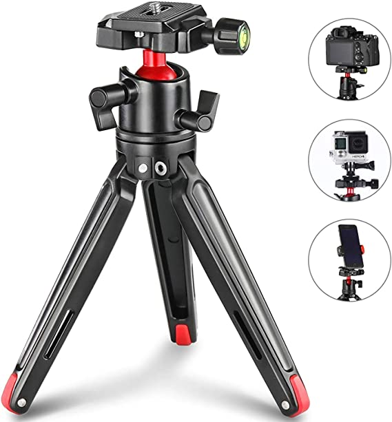 Adjustable Height Camera Tripod Multi-Functional Portable 4-Section Folding Legs Metal Tripod Mount with 360 Degree Ball Head for DSLR /& Digital Camera 42-130cm