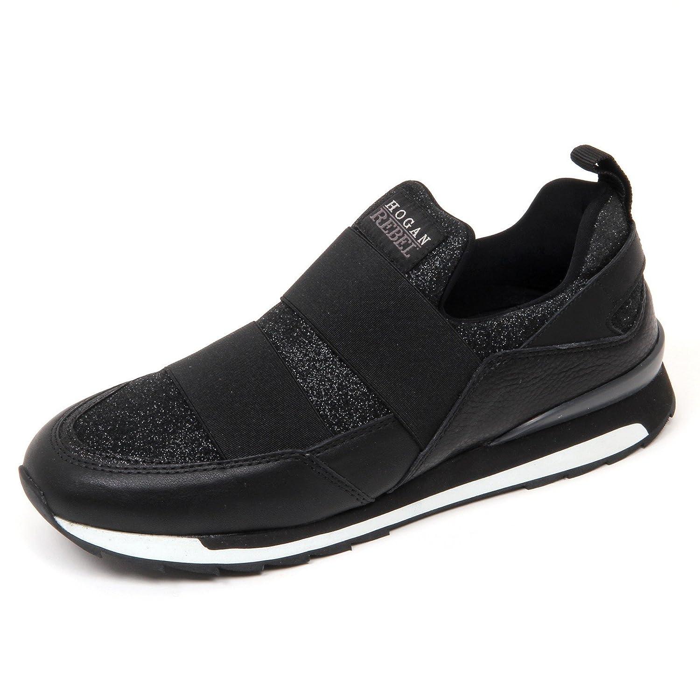 D0578 sneaker donna HOGAN REBEL R261 scarpa nero slip on shoe woman