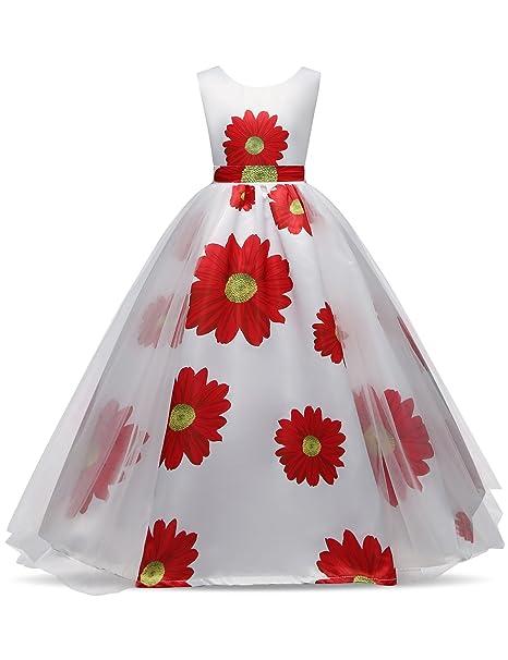 UK Flower Girls Dress Wedding Birthday Party Formal Pageant Princess Rose Petals
