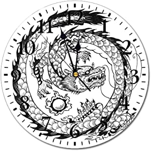 Dragon 3D Print Round Wall Clock,Ethnic Asian Japanese Swirled Dragon Pattern Folk Heritage Spiritual Illustration Decorative 10 Inch Battery Operated Quartz Analog Quiet Desk Clock,Black White
