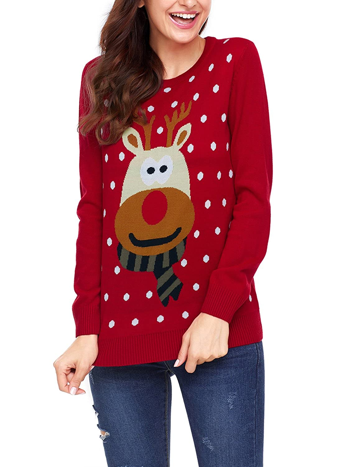 Sidefeel Women Knited Holiday Pullover Christmas Cute Reindeer Sweater HX27695