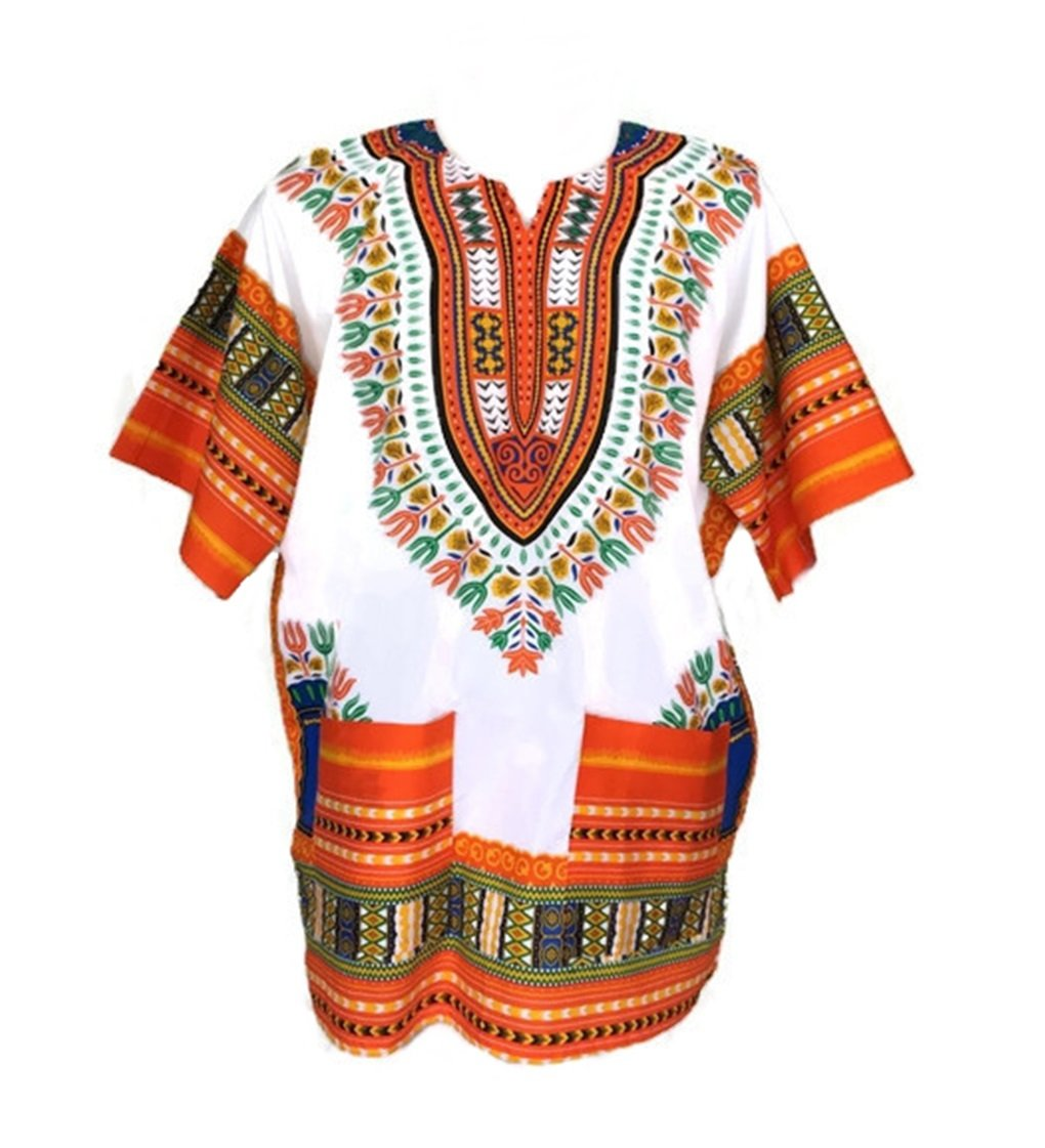 Vipada Handmade Men Dashiki Shirt African Caftan White and Orange New