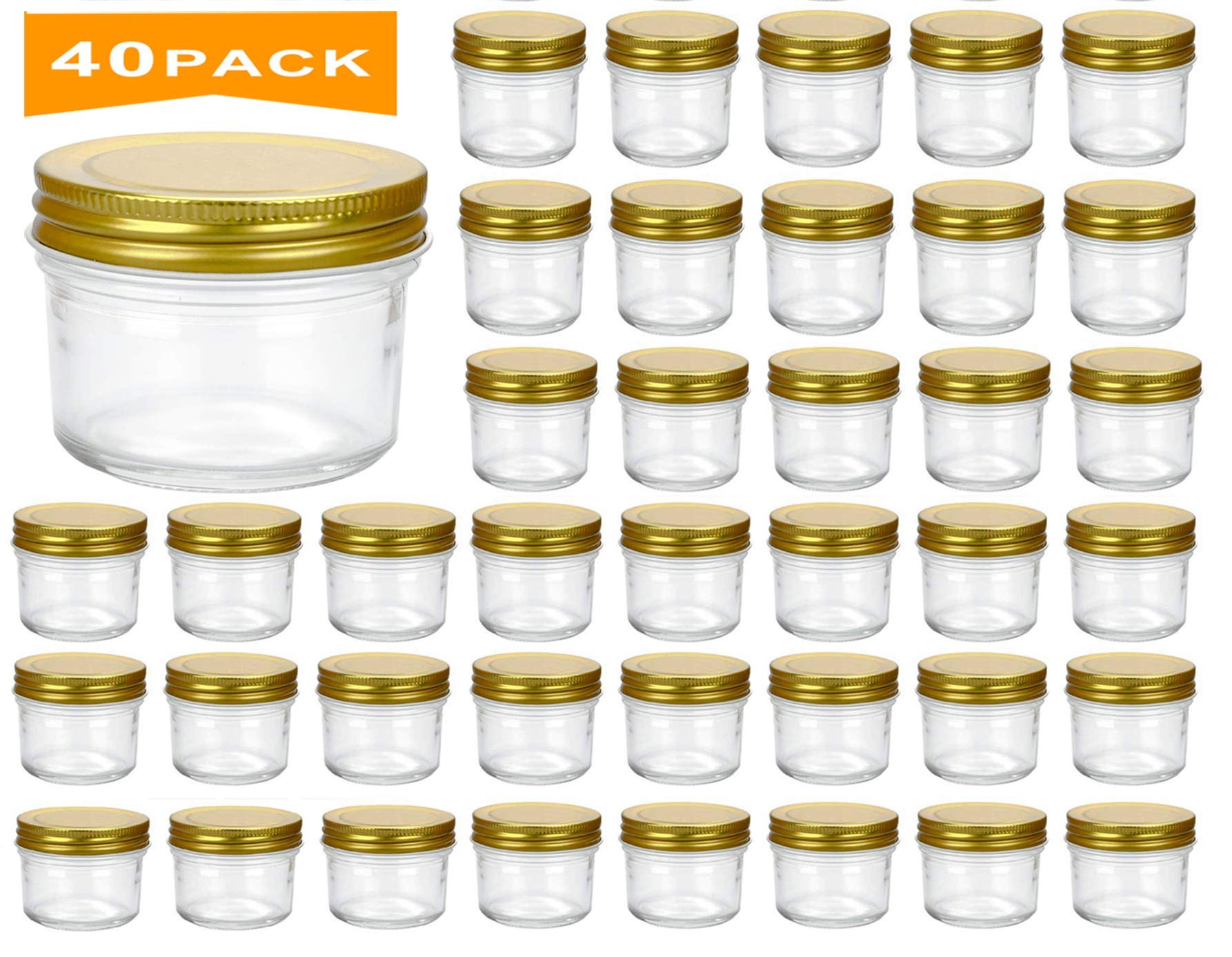 Encheng 4 oz Clear Glass Jars With Lids(Golden),Small Spice Jars For Herb,Jelly,Jams,Wide Mouth Manson Jars Canning Jars For Kitchen Storage 40 Pack ...