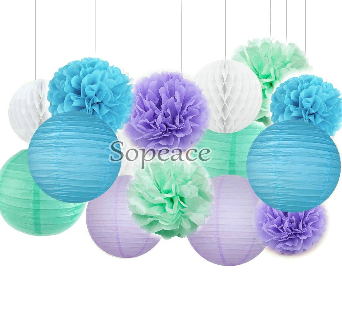 Sopeace Party Decoration Kit Purple Blue Tissue Paper Pom Poms Flowers Papers Lanterns Circle Garland Birthday Wedding Christening Frozen Theme Party Decorations for Adults Boys Girls