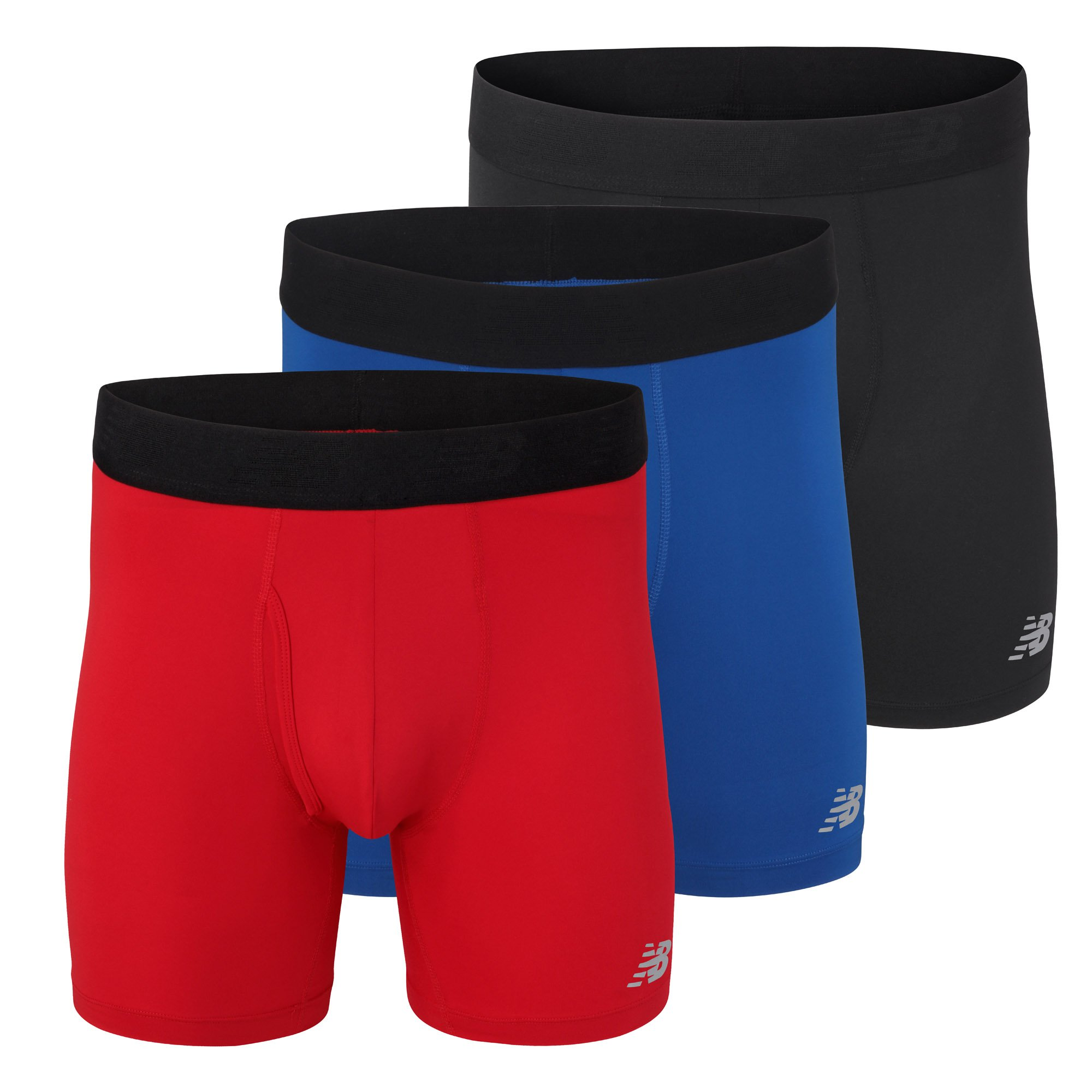 New Balance Men's 6'' Boxer Brief Fly Front with Pouch, 3-Pack,Black/Team Red/Team Blue, X-Large (40''-42'') by New Balance