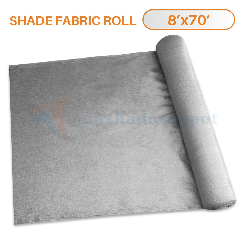 Sunshades Depot 8' x 70' Shade Cloth 180 GSM HDPE Light Grey Fabric Roll Up to 95% Blockage UV Resistant Mesh Net by Sunshades Depot