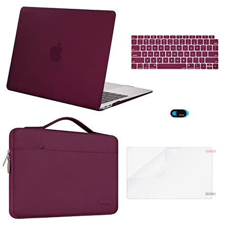 MOSISO New MacBook Air 13 inch Case 2019 2018 Release A1932 Retina Display,Plastic Hard Shell & Carrying Sleeve Bag & Keyboard Cover& Webcam Cover& ...