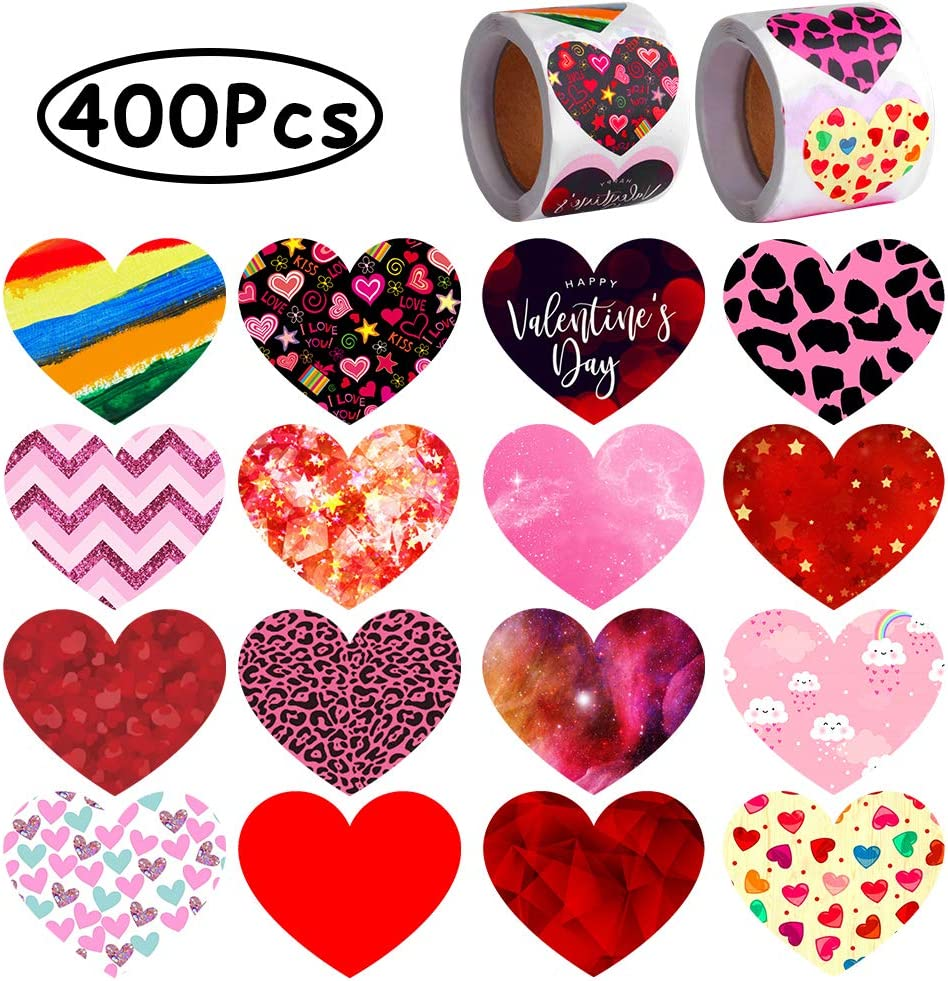 ONESING 400 Pcs Valentine's Day Heart Stickers Love Decorative Stickers 1.5 Inch Muticolor Self-Adhesive Heart Shape Stickers for Envelopes Cards Scrapbooking Anniversary Valentine's Day Party