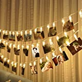 2M 20 LED String Lights with Photo Clip Battery Operated Christmas Lights Wedding Party Window Home Decoration Lights (Warm White)