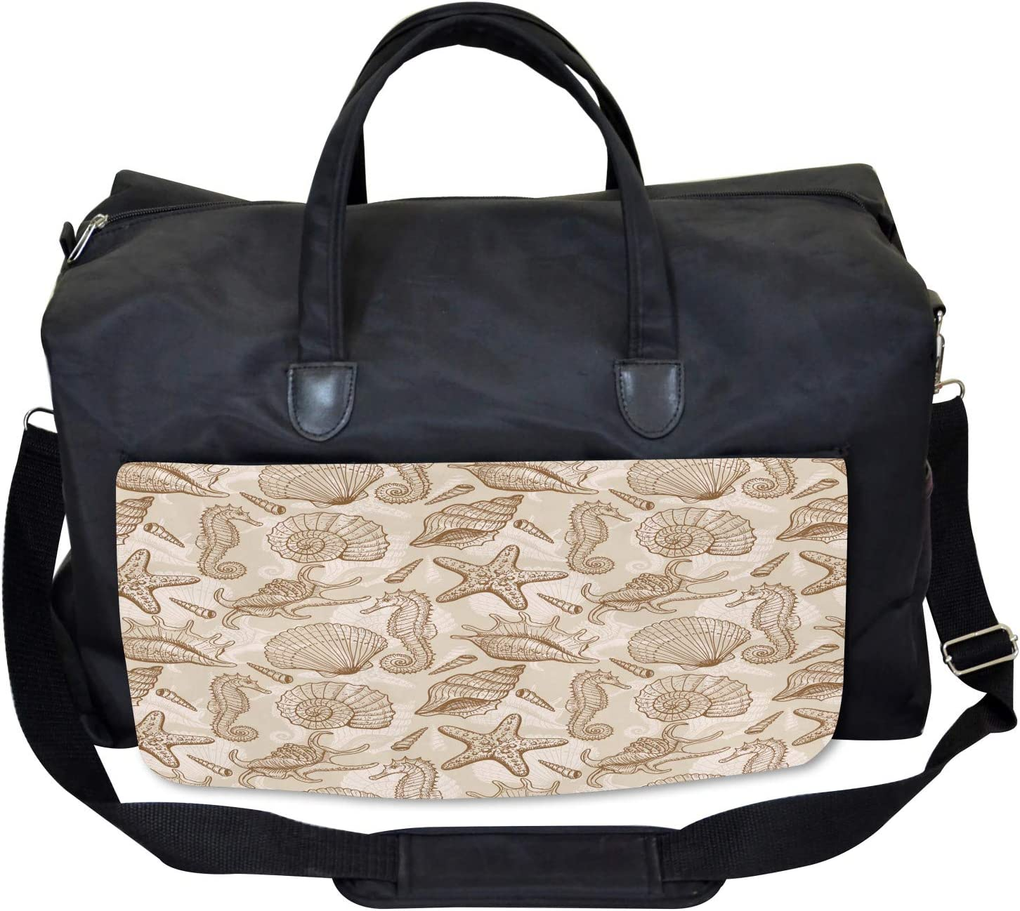 Large Weekender Carry-on Exotic Marine Animals Ambesonne Beige Gym Bag