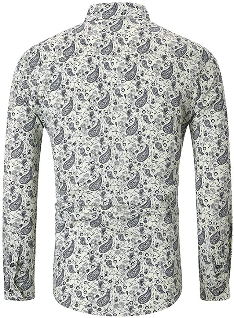 Coersd Men Autumn Ethnic Business Leisure Printing Long-Sleeved Shirt Top Blouse