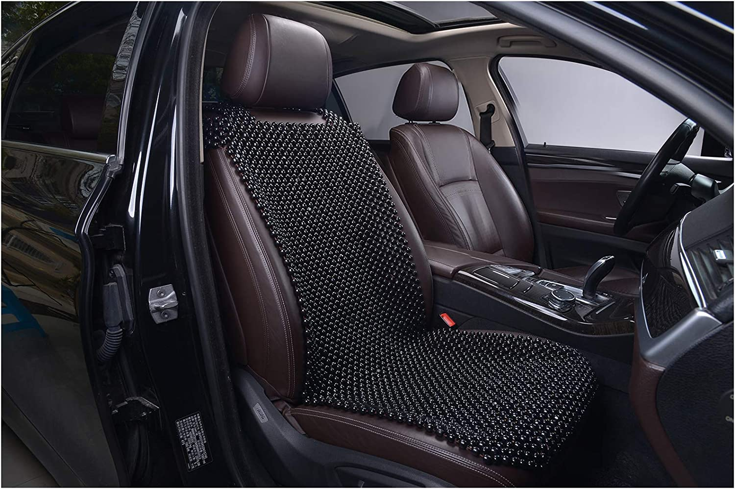 KENNISI Beaded Seat Cover Car Cooling Auto Seats Durable Large Wooden Bead Chair Truck Cushion for Summer Stress Free All Day 1-PC (1-Black-PJ)
