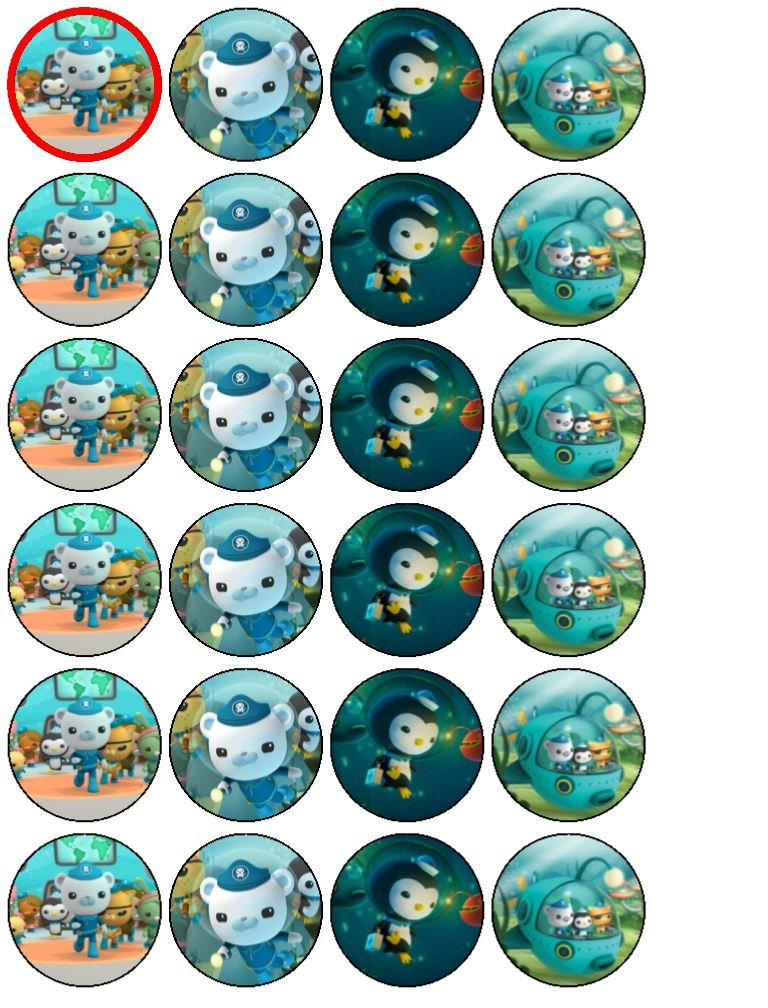 24 Oconauts Cupcake Toppers