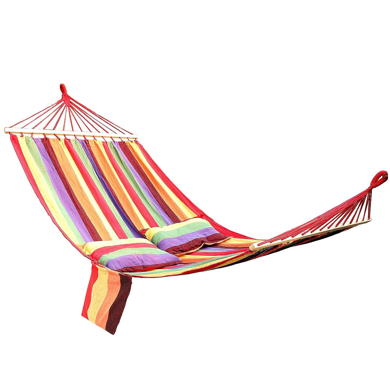 Songmics GDC22W, Amaca con Barra della Serie Bali per 2 Persone Inclusi 2 Cuscini, 210 x 150 cm, Carico Utile Fino a 300 kg, Strisce arcobaleno Songmics-Outdoors