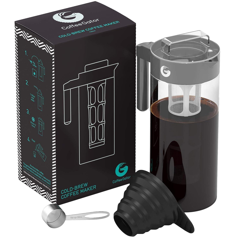 Coffee Gator Cafetera de Émbolo para Preparar Café en Frío Máquina Manual Cold-Brew para Conseguir un Café de Filtro Intenso y Aromático - Incluye Cuchara ...