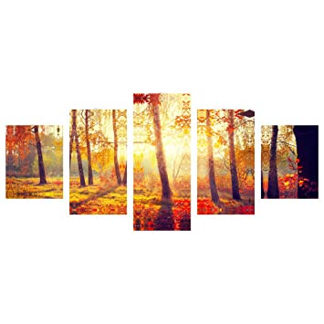 Amazon.com: Pyradecor Matinal Forest 5 panels Landscape Giclee ...