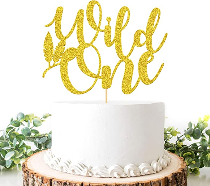 Boy CT156 Gold Wild One Cake Topper 1st Birthday Girl Jungle First Birthday Decorations Safari Theme