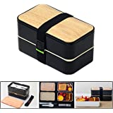 PluieSoleil Bento Box Lunchbox Brotdose Erwachsene BPA frei 2 Fächer Mit Besteck (schwarz)