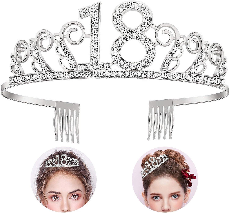 REYOK 18. Tiara de cristal para cumpleaños, corona de cumpleaños, corona con lazo de cumpleaños, corona de princesa, accesorio para el pelo, plata para fiestas de cumpleaños o tarta de cumpleaños