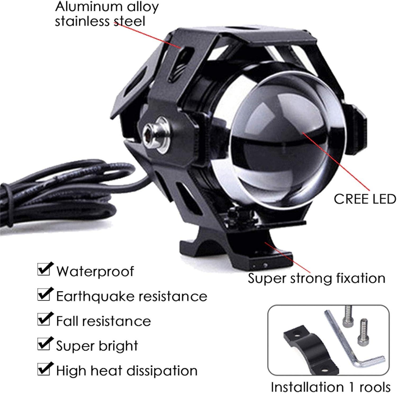 XQK Phares Universels De Moto LED Lumi/ères De Conduite De Tache De Moto Feux De Brouillard De Moto U5 12v pour Quad Scooter Voiture Camion Bateau V/élo