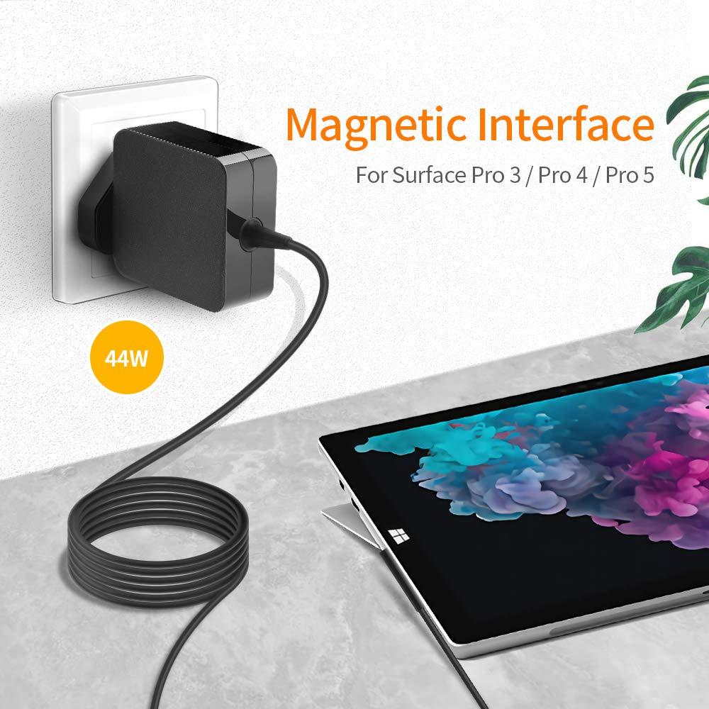 Rocketek 15V 2.58A 44W Power Portable Charger for Microsoft Surface Pro 5 /& Surface Pro Microsoft Surface Pro Charger /& Laptop Charger /& Microsoft Surface Pro 3//Pro 4 2017