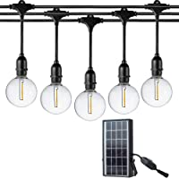 FLSNT G40 Solar Outdoor String Lights, E17 Base 10 Hanging Sockets with 12 Soft White 2700K LED Globe Bulbs(Extra 2…