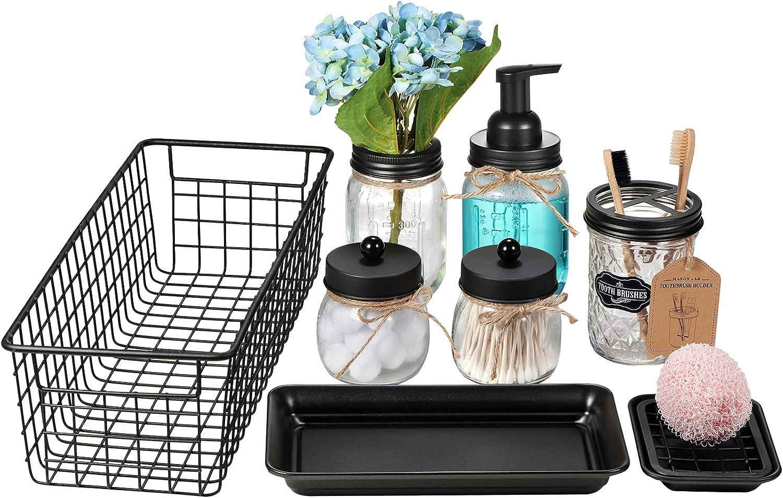Mason Jar Bathroom Accessories Set 8 Pcs - Foaming Soap Dispenser,Toothbrush Holder,2 Apothecary Jars, Flower Vase,Soap Dish,Vanity Tray,Toilet Paper Holder Storage Bin,Vintage Farmhouse Decor (Black)