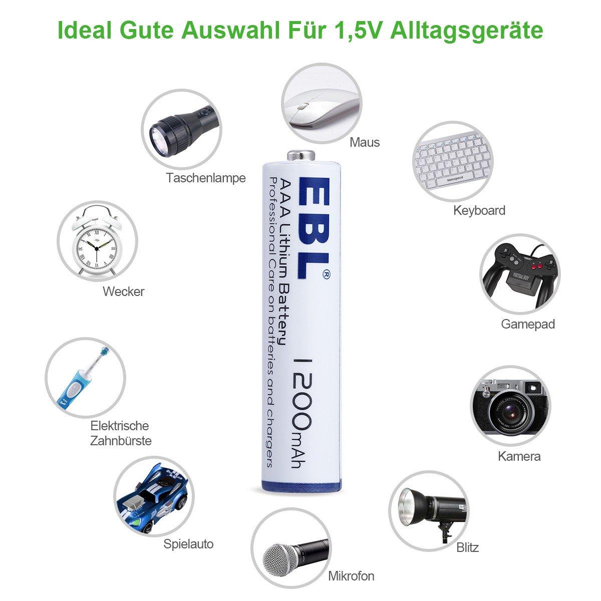 EBL AAA Lithium Batterie 1.5V 1200mAh sofort einsatzbereit 16 Stück