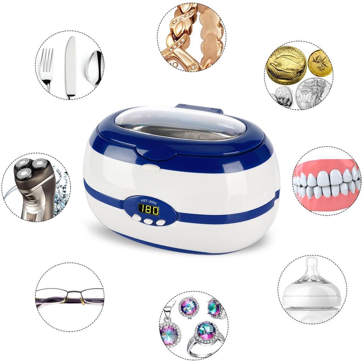 Ultrasonic Cleaner Jewelry Cleaner Denture Cleaner Glass Cleaner with DEGASSING Function Ultrasonic Cleaner for Jewellery Lenses Watches Etc with Smart Digital Timer. FDA Approved 20 Oz Blue