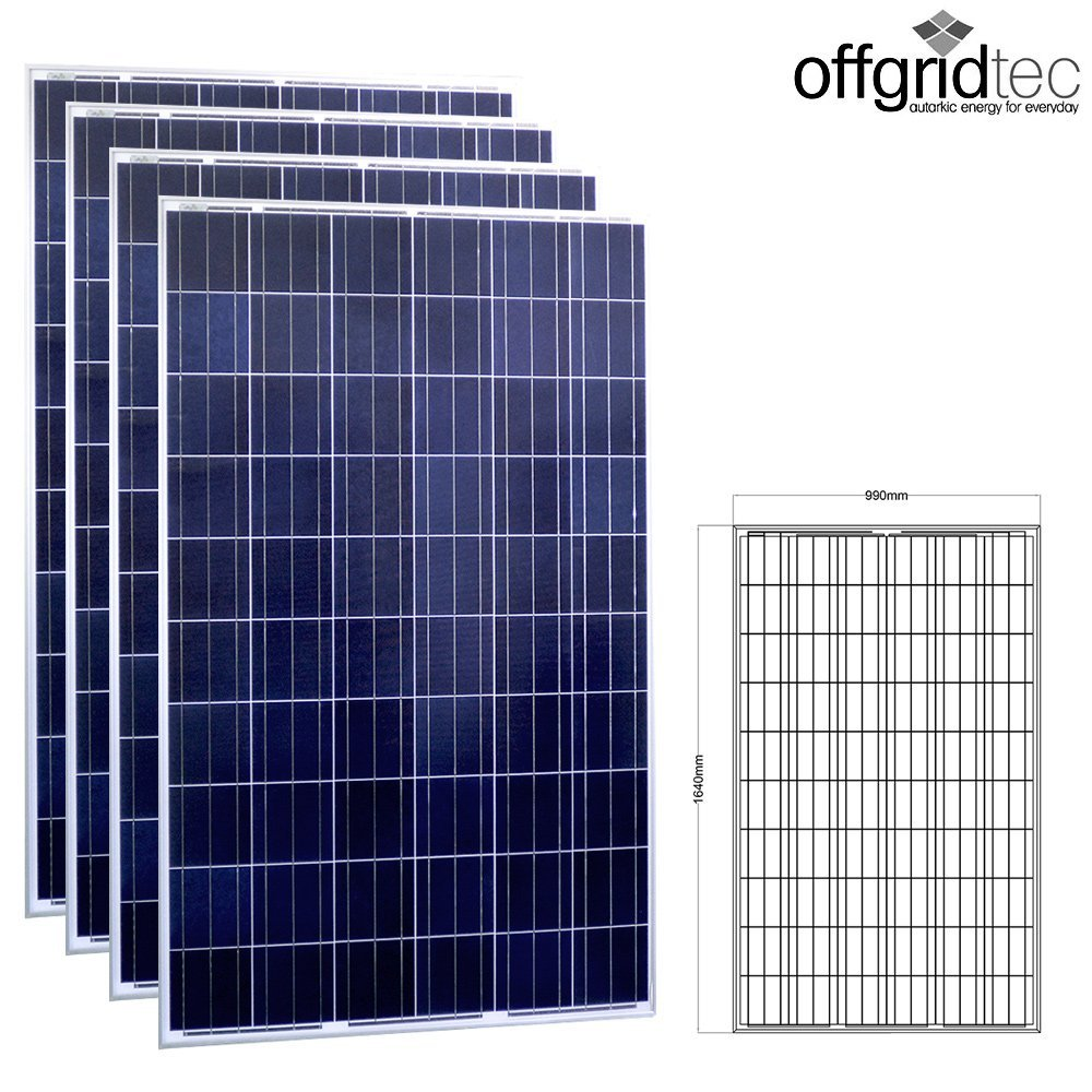 4 Stück Offgridtec® 250W Poly 36V Solarmodul Projetktmodul Photovoltaik Solarpanel